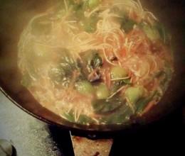 青菜肉末面