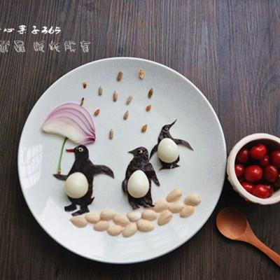 鹌鹑蛋创意摆盘——企鹅找家