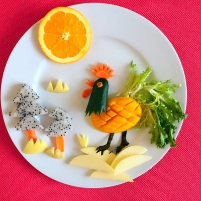 水果拼盘-雄鸡报晓