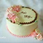 柔美的五瓣樱花淡奶油蛋糕