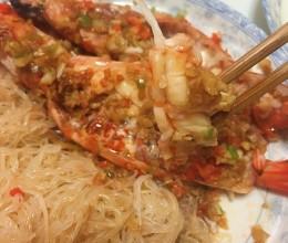 蒜蓉开边蒸大青虾