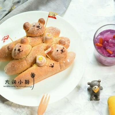 蜜梨全麦小熊面包