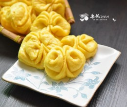 南瓜花朵馒头#樱花味道#