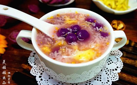 紫薯汤圆酒酿羹