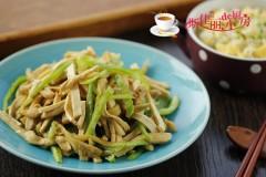 青椒榨菜干子炒鸡丝