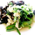 木耳鸡蛋炒小白菜