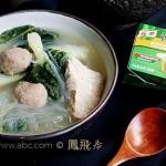 快手浓郁#肉丸粉丝白菜汤#