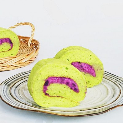 菠菜紫薯蛋糕卷#九阳至爱滋味#