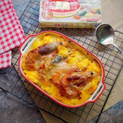 奶香菠萝大虾芝士焗饭#手残党vs西餐大厨#