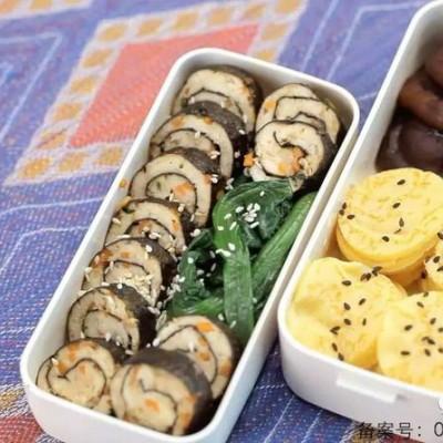 便當菜譜(玉米餅+海苔肉卷)