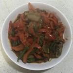 甜椒炒卤猪头肉