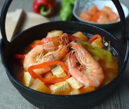 大虾泡菜豆腐锅:酸辣鲜美低热量
