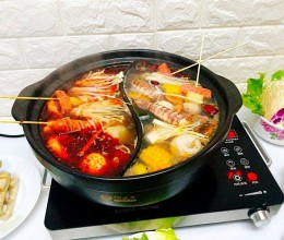 什锦海鲜鸳鸯火锅#竹木火锅,文艺腹兴#