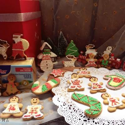 一组中国风的圣诞新年姜饼人糖霜饼干#安佳烘焙学院#