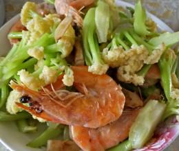 大虾炒菜花