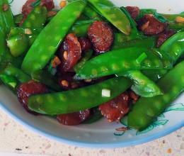 广式香肠炒扁豆