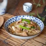 青蒜肉片炒鲜蘑