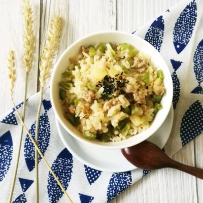 电饭煲菜肉米饭