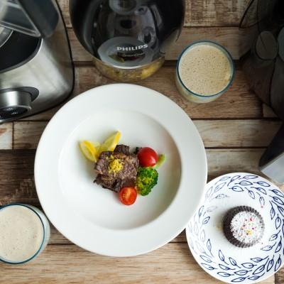 时蔬配柠檬牛小排热,热巧克力布丁,香蕉牛奶