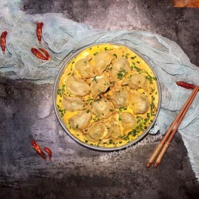 韭菜肉抱雞蛋煎餃