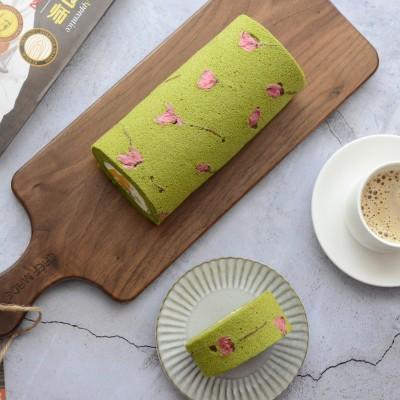 樱花抹茶芒果蛋糕卷