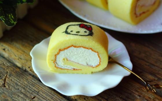 手绘奶油蛋糕卷