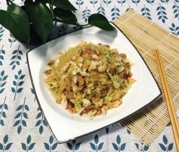 鲜虾火腿圆白菜炒粉丝