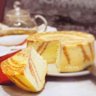 粉红斑马戚风蛋糕(表面+侧面+内部均有斑马纹)