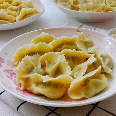 玉米面小白菜饺子#百菜不如白菜#