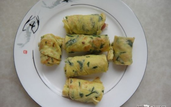 菜叶鸡蛋饼