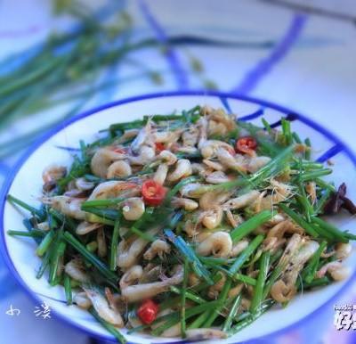虾米炒韭菜苔