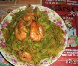 炒青虾萝卜