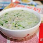 青菜肉末二米粥