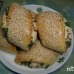 烤葱花火腿卷饼