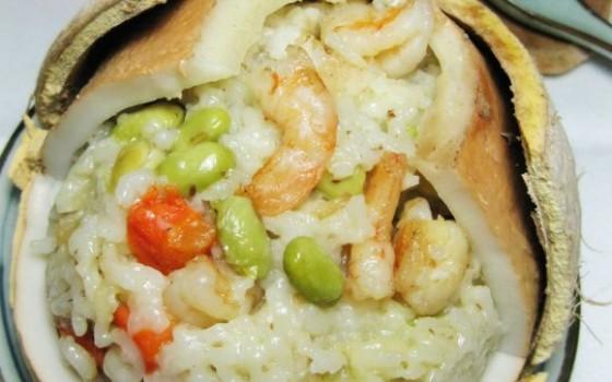 椰壳海鲜饭
