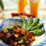 豆豉芦笋杏鲍菇炒腊肉