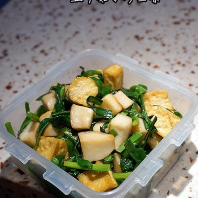 豆腐菇丁炒韭菜