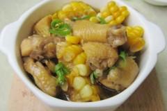 鸡块炖甜玉米