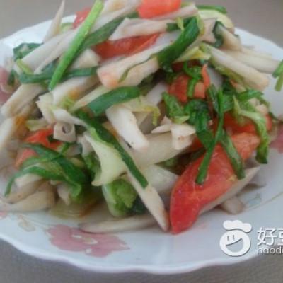 番茄韭菜炒莲菜