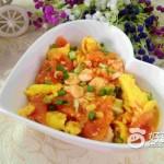 西红柿虾仁炒鸡蛋