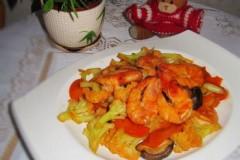 海虾炒有机花菜