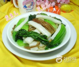 青菜金针菇炒年糕