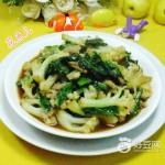 肉丝莴笋叶炒花菜
