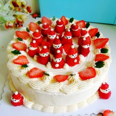 十寸草莓雪人蛋糕