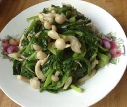 油菜炒白玉菇