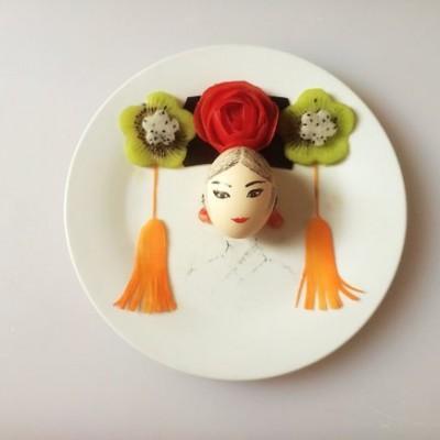 餐盘画:满族头饰