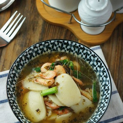 芽菜白虾汤年糕