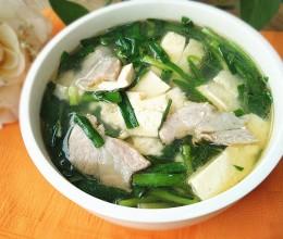 豆腐韭菜肉片汤