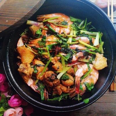 海虾土鸡煲