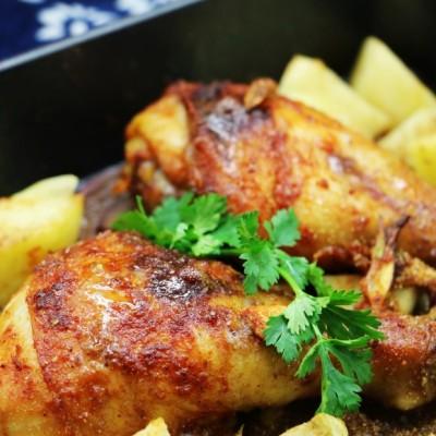 香烤鸡腿配土豆